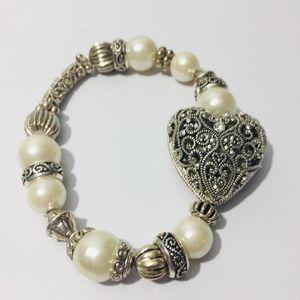 vintage, silver and pearl heart.  Elegant bracelet